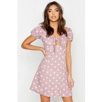 Womens Knot Front Sweetheart Neck Mini Dress - pink - 16, Pink