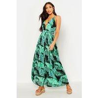Womens Plunge Front Palm Print Maxi Dress - black - 12, Black