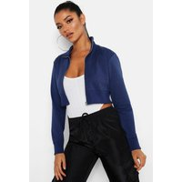Womens Cropped Zip Front Jacket - blue - XL, Blue