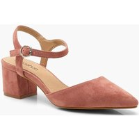 Womens Pointed Block Heel Ballets - Pink - 4, Pink