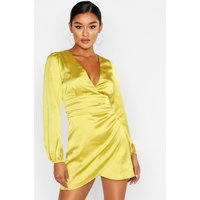 Womens Satin Wrap Detail Mini Dress - Yellow - 10, Yellow