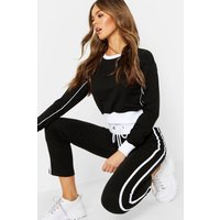 Womens Contrast Piping Ankle Grazer Tracksuit - black - 10, Black