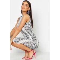 Womens Snake Print Sleeveless Bodycon Midi Dress - grey - 10, Grey