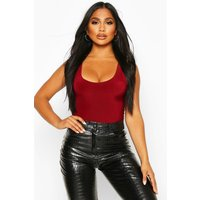 Womens Slinky Double Layer Scoop Sleeveless Bodysuit - red - 14, Red