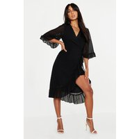 Womens Dobby Chiffon Wide Sleeve Midi Wrap Dress - black - 8, Black