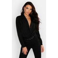Womens Woven Wrap Bodysuit - black - 14, Black