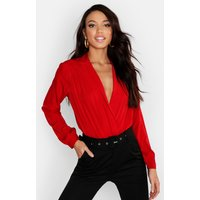 Womens Woven Wrap Bodysuit - Red - 12, Red