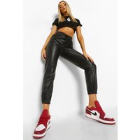 Womens Leather Look Joggers - black - 14, Black