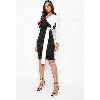 Womens Contrast Colour Block Wrap Midi Dress - black - 8, Black