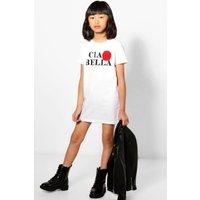 Slogan Fur Trim T-Shirt Dress - white