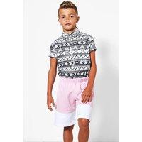 Contrast Panel Fleece Shorts - pink