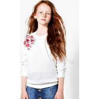 Embroidered Sweat Top - cream