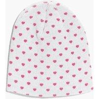 Heart Beanie Hat - ivory