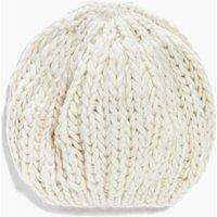Knitted Beanie Hat - cream