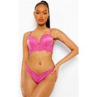 Womens Lace Trim Satin Super Push Up Bra - Pink - 32B, Pink