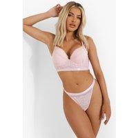Womens Bonded Lace Longline Super Push Up Bra - Pink - 32D, Pink