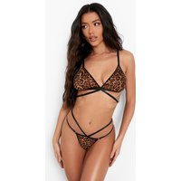 Womens Leopard Strapping Bra Set - Brown - M, Brown