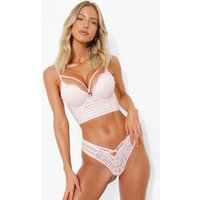 Womens Layered Strapping Longline Super Push Up Bra - Pink - 32D, Pink