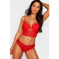 Womens Cross Front Longline Bra - red - 34C, Red