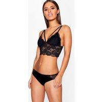 Womens Strapping Longline Lace Bralet - Black - Xs, Black
