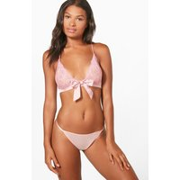 Front Bow Lace Bralet - pink