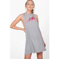 Applique High Neck Lounge Dress - grey