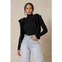 'Womens Faux Fur Zip Through Hooded Gilet - Black - 12, Black