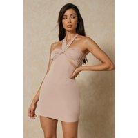 Premium Knot Front Halterneck Mini Dress
