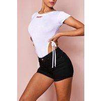 'Womens Turn Up Hem Denim Shorts - Black - S, Black