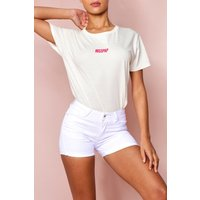 'Womens Turn Up Hem Denim Shorts - White - S, White