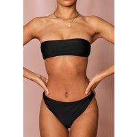 'Womens Bandeau High Leg Bikini Set - Black - 6, Black