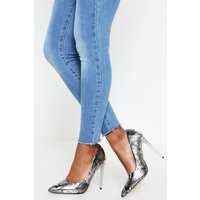 'Womens Sequin Pointed Court Heels - Silver - 3, Silver