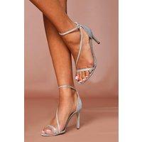 'Womens Glitter Metallic Strap Heels - Silver - 3, Silver