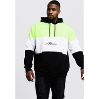 Big & Tall Neon Colour Block MAN Hoodie