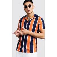 Orange Stripe Short Sleeve Revere Shirt