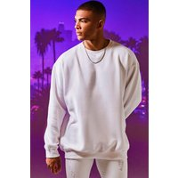 Mens White Fleece Oversized Sweatshirt, White
