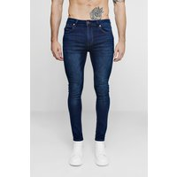 Mens Blue Dark Washed Indigo Super Skinny Fit Jeans, Blue