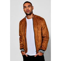 Faux Suede Bomber Jacket - tan
