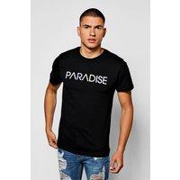 With Multi Colour Paradise Print - black