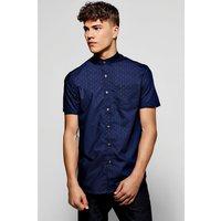 Sleeve Rose Jacquard Shirt - navy