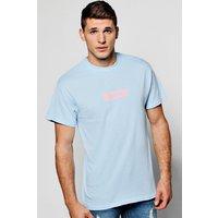 Pink Box Logo Print T-Shirt - blue