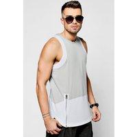 Block Vest With Zip Front - silver