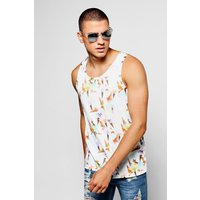 Cream Print Racer Back Vest - cream