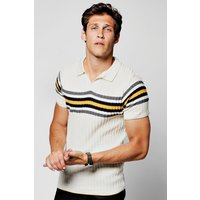 Collar Ribbed Polo With Stripe Detail - ecru