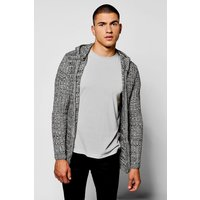 Twisted Knit Hooded Cardigan - black