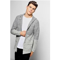 Ombre Knit Open Hooded Cardigan - grey