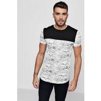 Sleeve Space Dye Panel T-Shirt - white