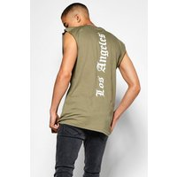 Longline Sleeveless T-Shirt - khaki