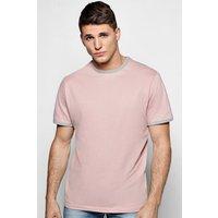 Neck Regular Fit Ringer T-Shirt - pink