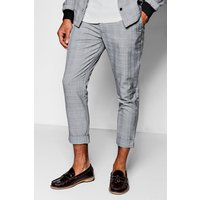 Check Skinny Fit Cropped Trousers - grey